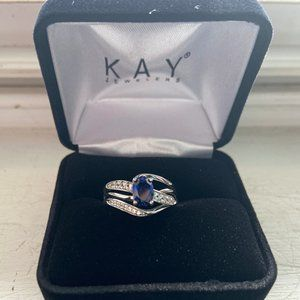 Blue & White Sterling Silver Ring